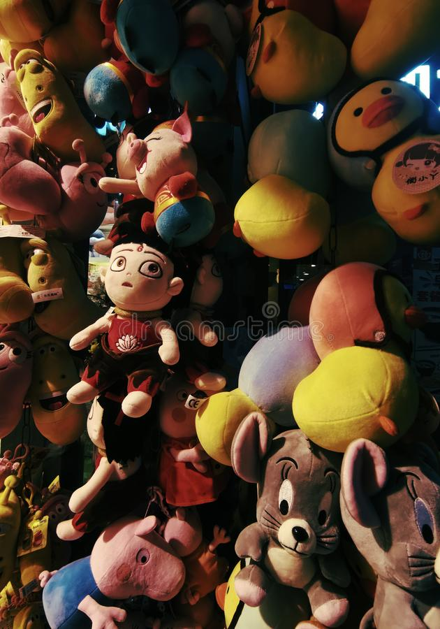 Closeup of toys at a home shop in Wuhan city. Closeup of colorful toys at a home shop in Wuhan city hubei province china stock image