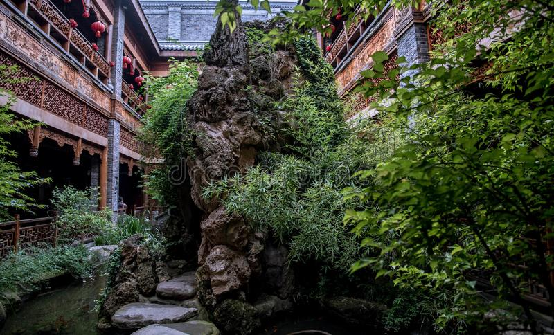 Closeup of a chinese garden in wuhan city royalty free stock photos