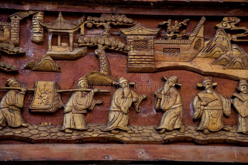 Closeup of traditional chinese style wood carving royalty free stock photos