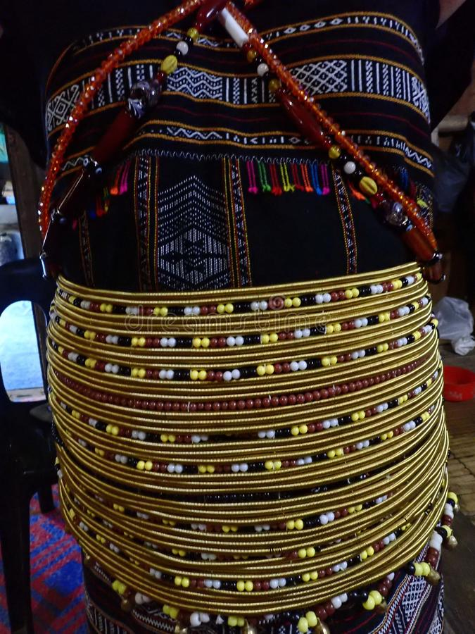 Closeup with traditional Rungus women costume from Kudat, Sabah. Malaysia. Borneo. royalty free stock photography