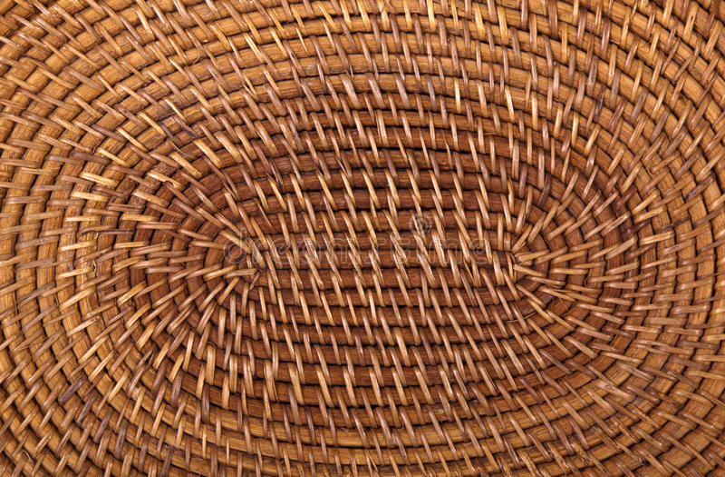 Closeup of Traditional Woven Grass Mat in Circular Pattern stock photo
