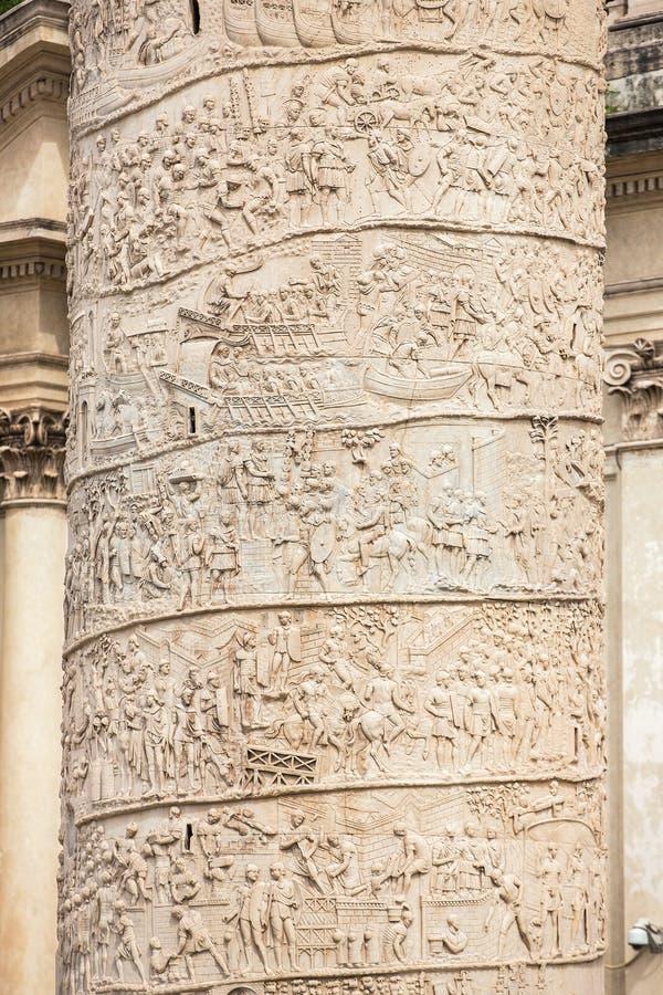 Closeup of Trajan's Column relief. Piazza Venezia stock photo