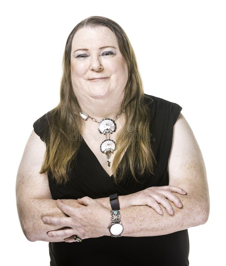 Closeup of Transgender Woman in Black Dress stock photos
