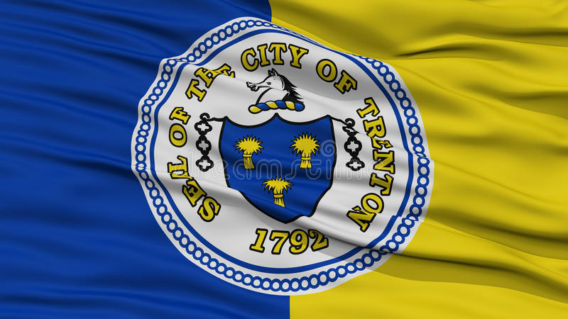 Closeup Trenton Flag. Capital of New Jersey State, Flying in the Wind vector illustration