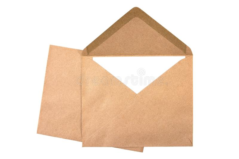 Closeup two brown envelope with white paper isolated on white background stock photos