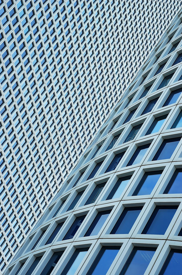 Closeup on two skyscrapers stock photos