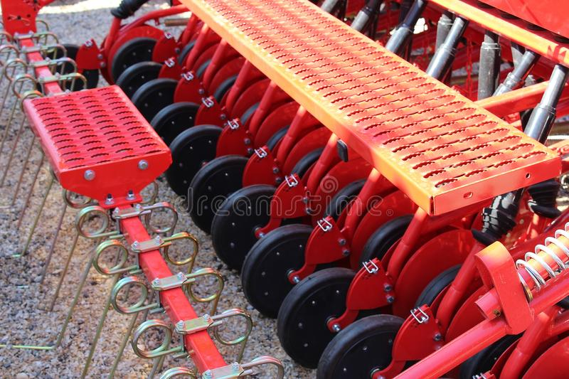 Closeup of universal machine for sowing seeds stock photography