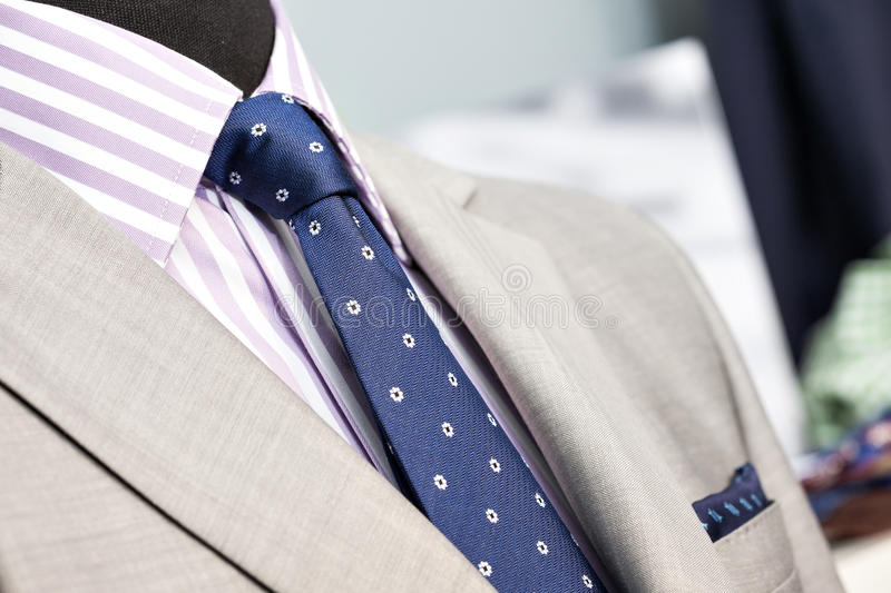 Closeup of the upper section of a man suit stock image