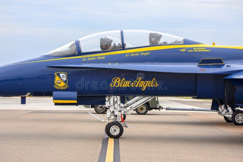 US Navy Blue Angels Fighter Jet F18 Hornet Cockpit stock photos