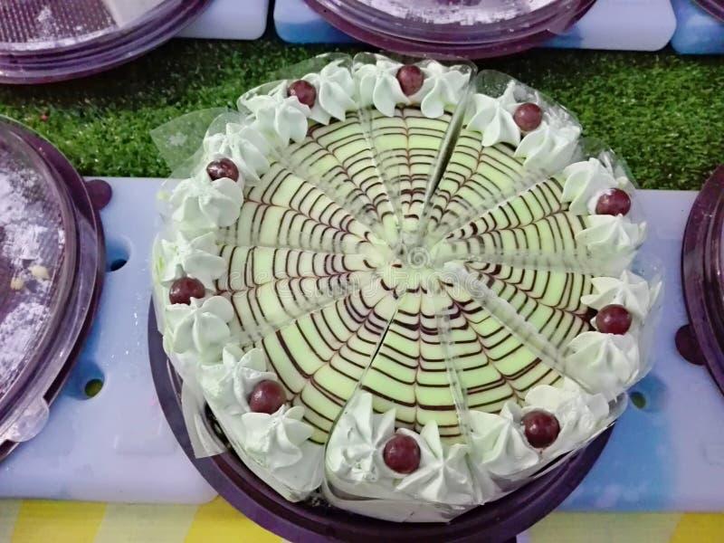 Closeup of vanilla cream cake royalty free stock photo