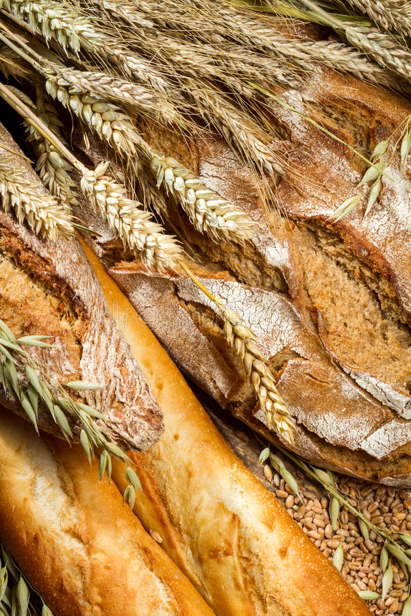 Closeup on a variety of bread with ears grain royalty free stock photos