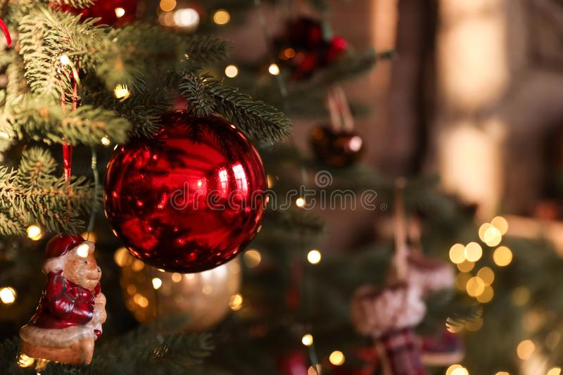 Closeup view of beautifully decorated Christmas tree. Indoors royalty free stock photography