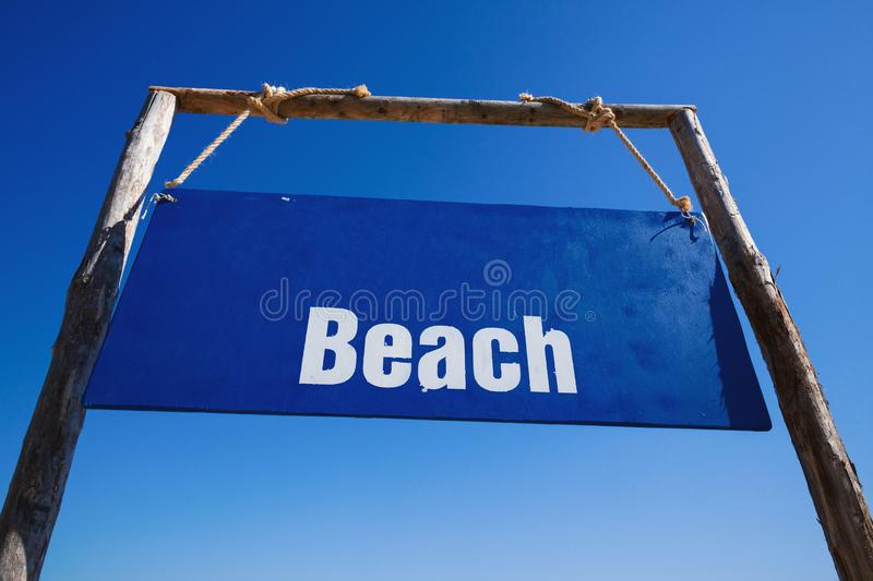 Blue Board with Beach Title royalty free stock photo
