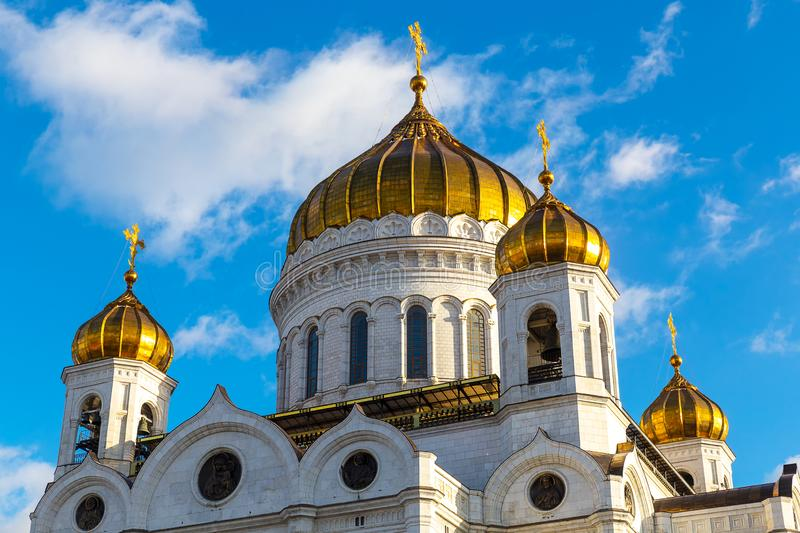 Closeup view of Cathedral of Christ the Saviour facade in Moscow stock photos
