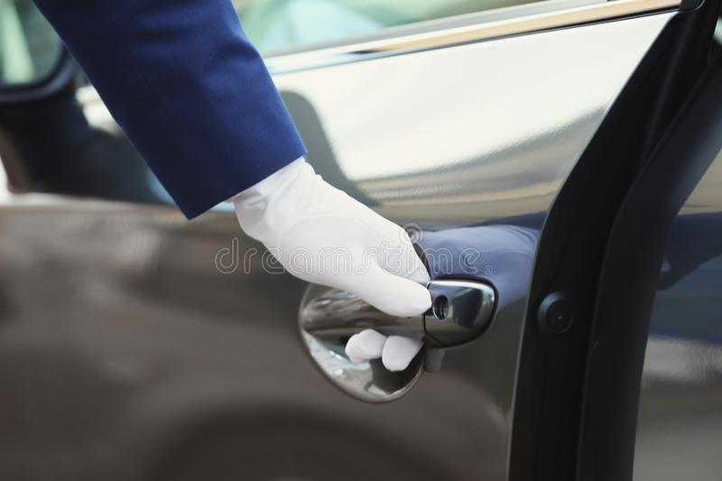 Closeup view of chauffeur royalty free stock images
