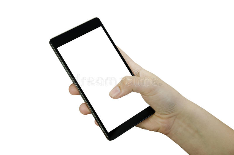 Closeup view of a child`s female hand with fingers holding a black smartphone with white touch screen isolated royalty free stock photography