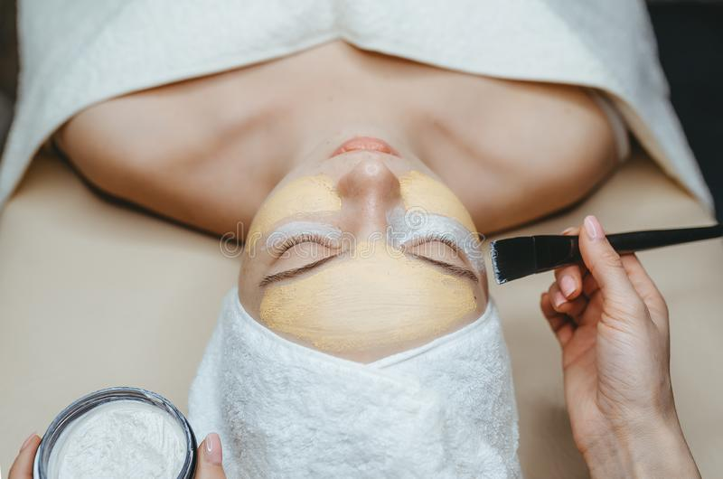Closeup view of cosmetologist applying face mask on attractive woman in spa salon royalty free stock photos