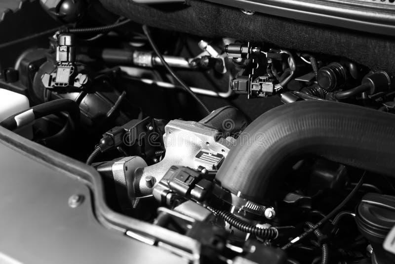 Closeup view of engine bay in car. Closeup view of engine bay in modern car royalty free stock image