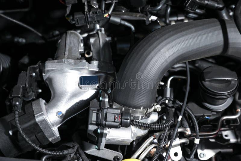 Closeup view of engine bay in car. Closeup view of engine bay in modern car stock images
