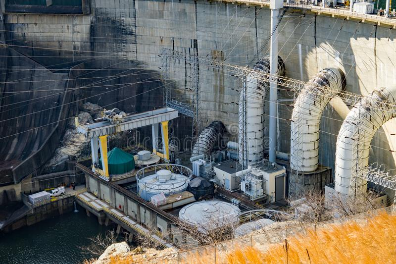Closeup View of the Generating Units at Smith Mountain Hydroelectric Dam. Sandy Level, VA – January 8th:the power generating units at Smith Mountain royalty free stock image