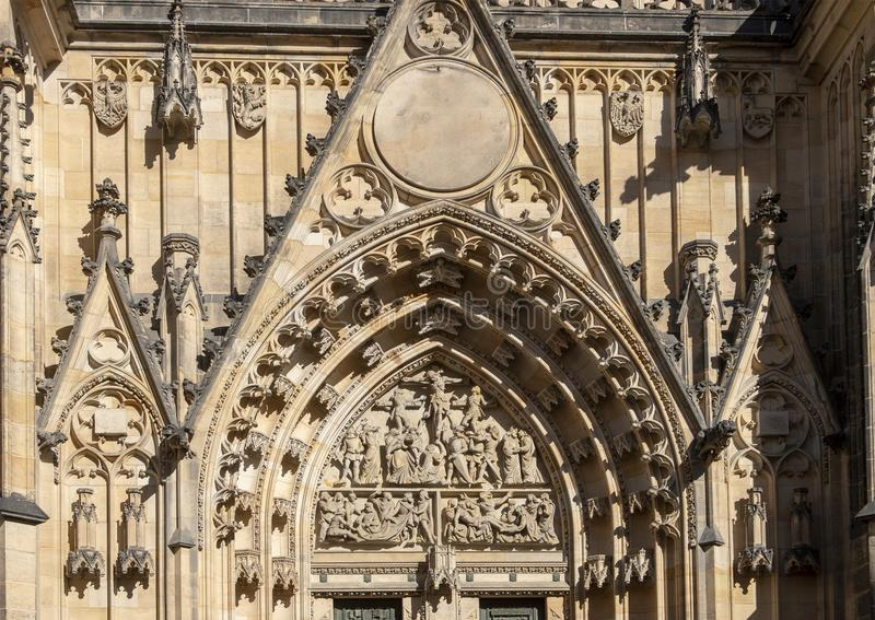 Closeup view of the Great West Door, St. Vitus`s Cathedral, Prague Castle, Czech Republic stock photo