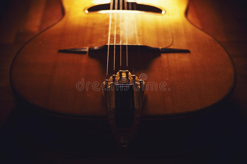 Closeup view of gypsy guitar body royalty free stock photography