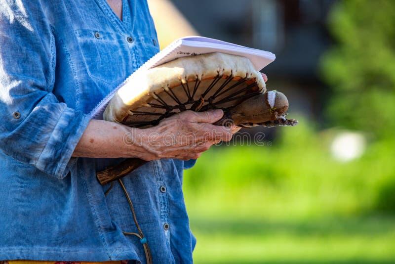 Sacred drums during spiritual singing. stock photos