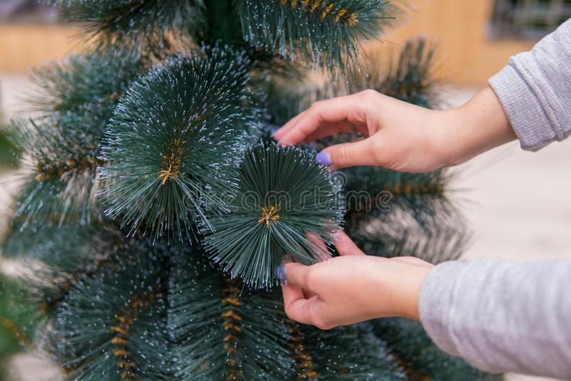 Closeup view of hands choosing faux Christmas tree on Christmas Eve. Save nature concept royalty free stock photography