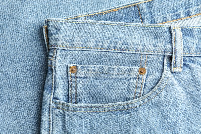 Closeup view of jeans pocket as background vector illustration