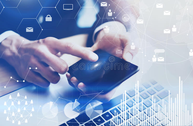 Closeup view of Male hand pointing finger on mobile phone touch display.Businessman working at office on modern notebook stock illustration