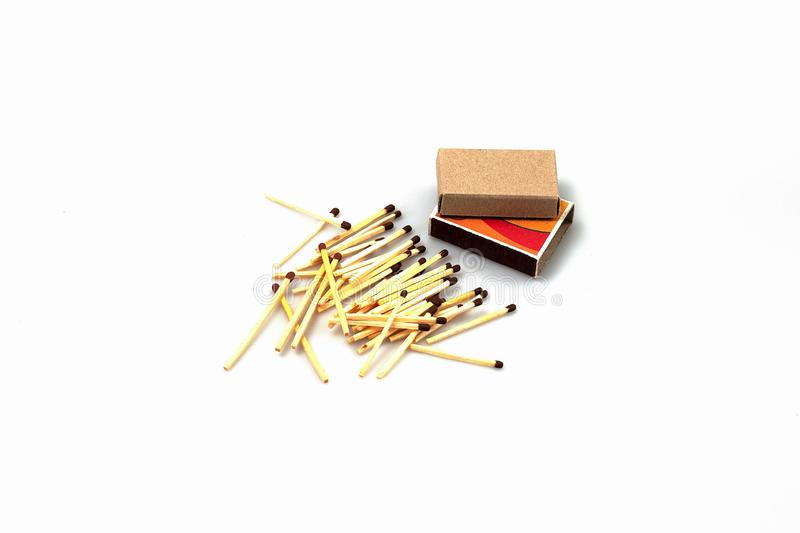 Closeup view of matchbox and matches isolated on white background.  stock photo