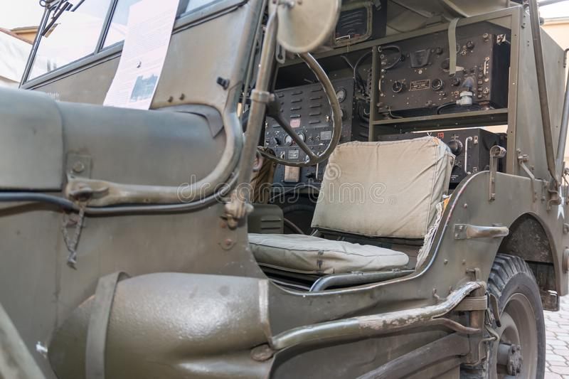 Closeup View of Military Car`s Interiors for Radio Communications from World War II stock photography
