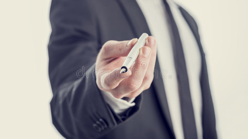 Closeup view of professor, businessman or politician offering yo royalty free stock photography