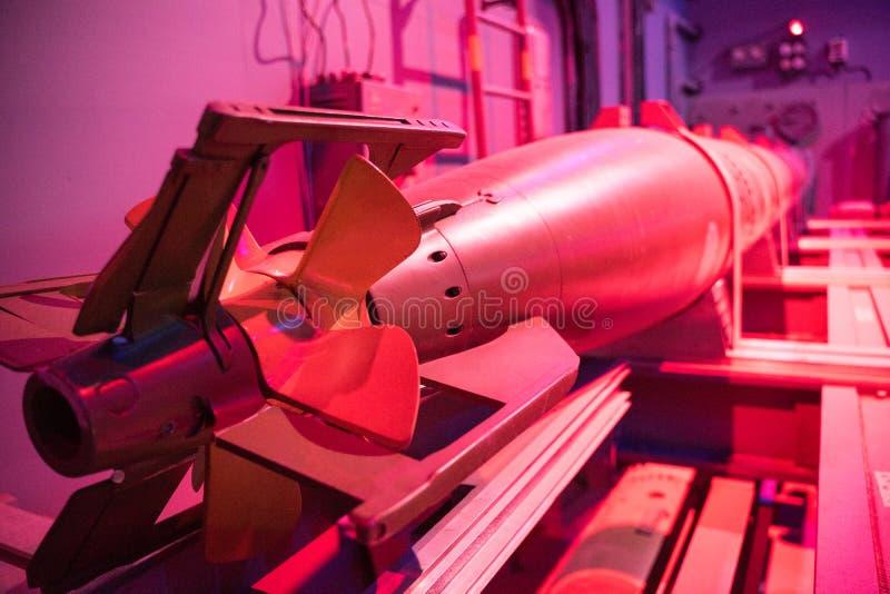 Nuclear Submarine Torpoedo Rear Closeup stock photo