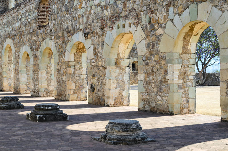 Closeup view to the yard of Convento de Cuilapam in Oaxaca stock images
