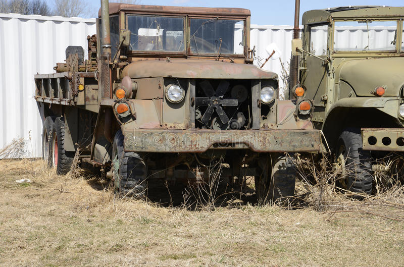 Download Closeup View Of Two Old Army Vehicles Stock Image - Image: 30156697