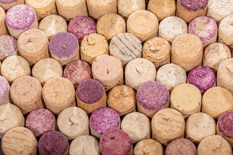 Closeup view of used  wine cork stoppers, wine corks. Background stock image