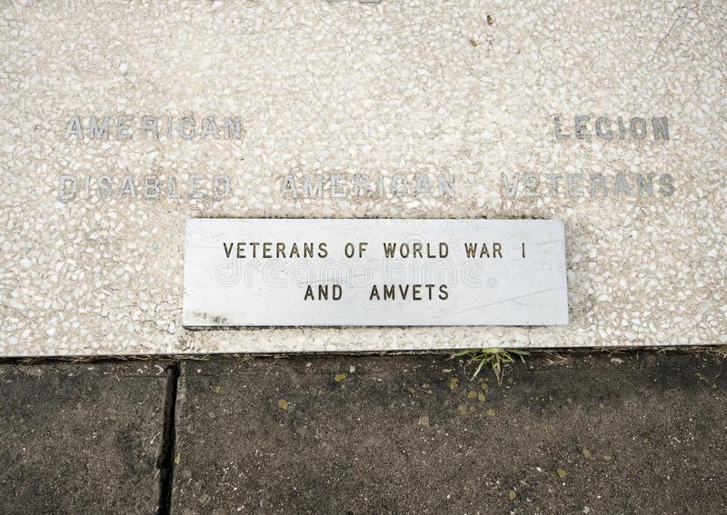 Closeup view war monument dedicated to the dead of all wars in the Veterans Memorial Garden, Dallas, Texas. royalty free stock photos