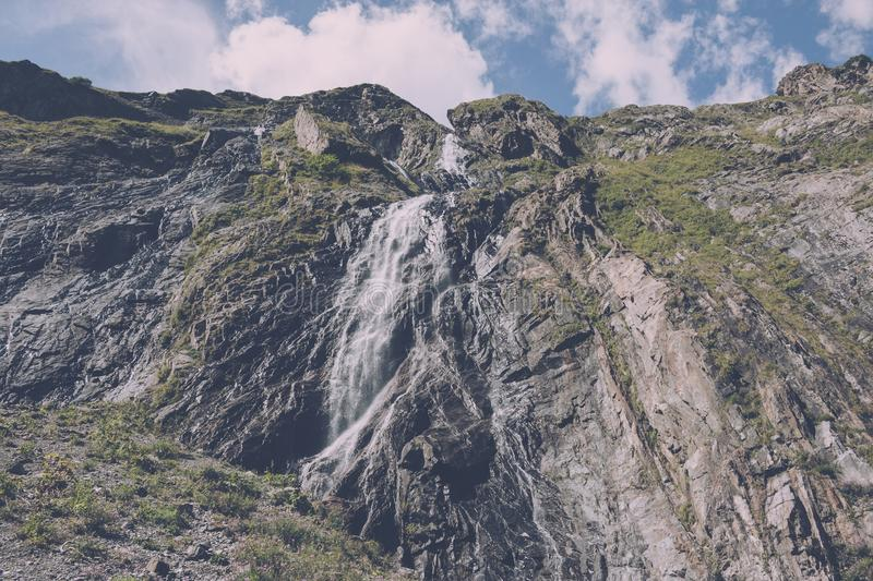 Closeup view waterfall scenes in mountains, national park of Caucasus, Russia. Closeup view waterfall scenes in mountains, national park Dombai, Caucasus, Russia stock photography