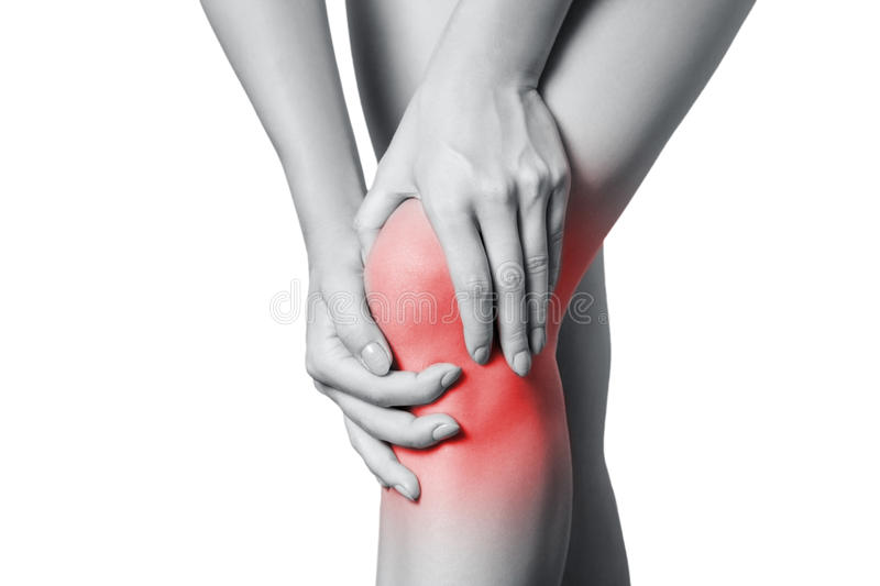 Closeup view of a young woman with knee pain. stock images