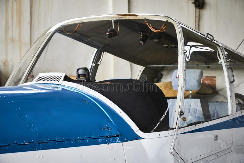 Closeup view of Zlin Z - 43 airplane cockpit from outside made in Czechoslovakia. royalty free stock images