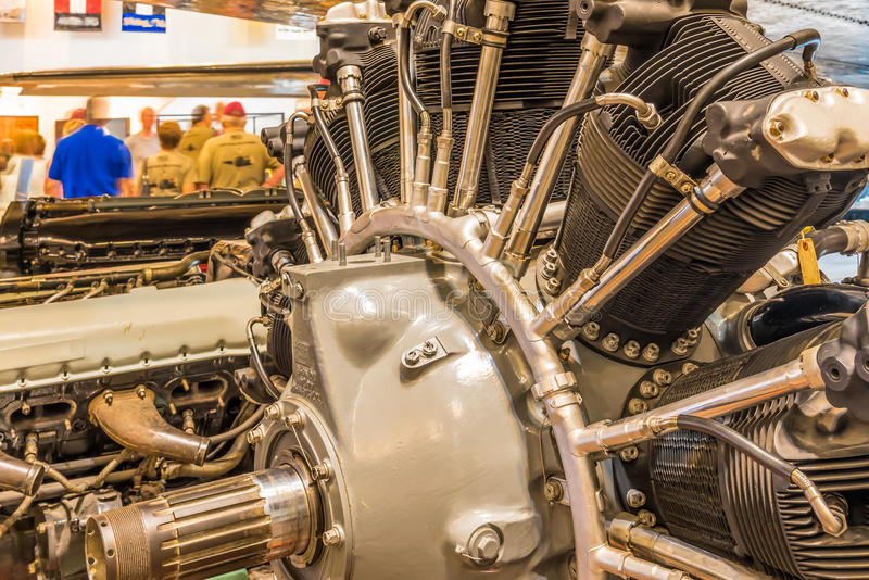 Closeup of a vintage Airplane Engine royalty free stock image