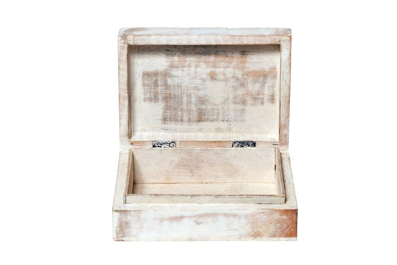 Closeup vintage texture wooden old weathered aged empty open rectangular box casket isolated on white background. Concept stock photo