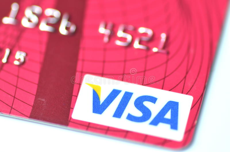 Closeup of VISA credit card. Isolated on white background stock photography