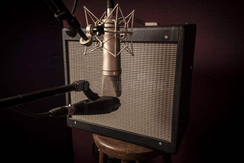 Closeup of Electric guitar recording studio set up royalty free stock photography