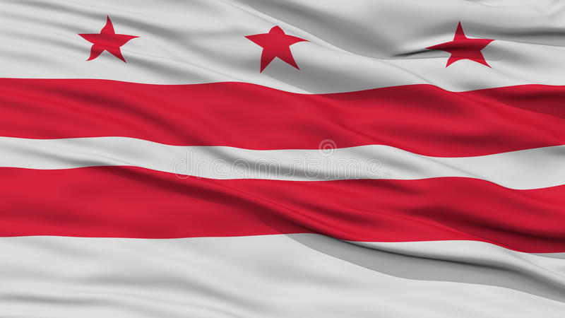 Closeup Washington DC Flag On Flagpole USA State Waving In The Wind High Resolution