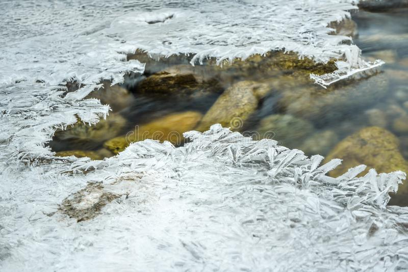 Closeup of water flowing in river, hole with crystalline ice around, long exposure makes flow silky smooth - winter weather. Background royalty free stock photography
