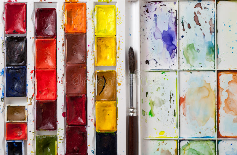 Closeup of watercolor palette royalty free stock photos