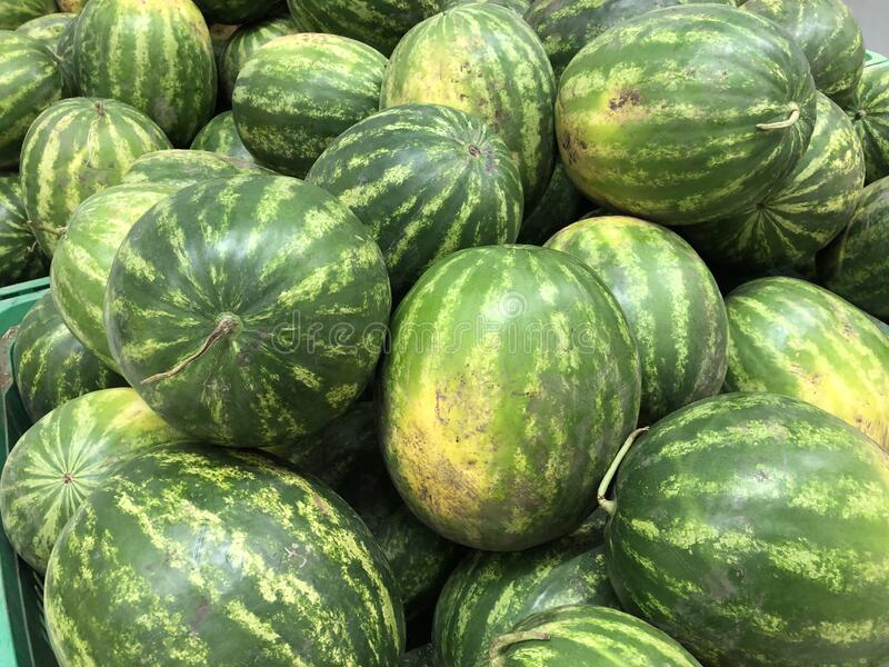 Closeup of watermelons, food and retail concept royalty free stock photos