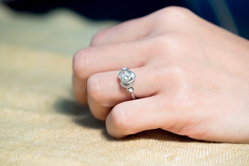 Closeup The Wedding Beautiful Diamond Ring On Women Ring Finger